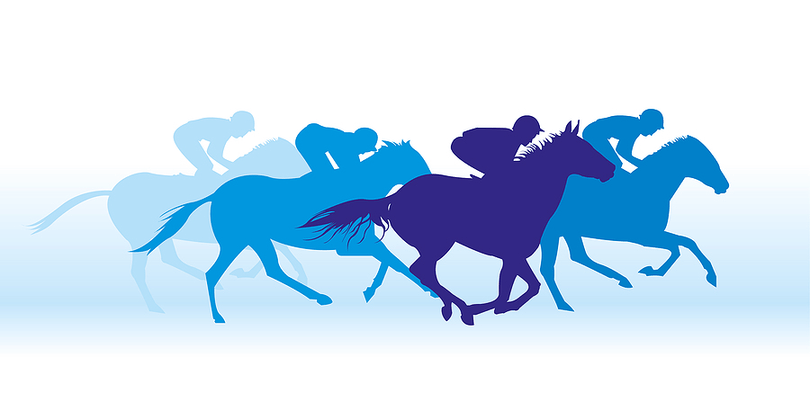 Horse Race Blue Silhouette Vector