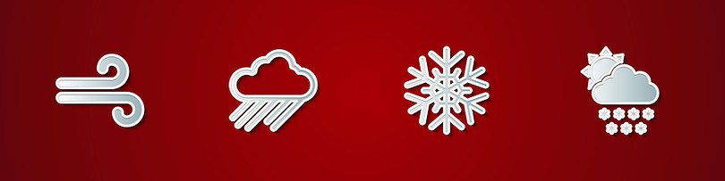 Weather Icons Against Red Background